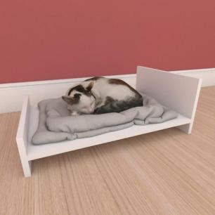 Mesa de cabeceira caminha minimalista pequeno gato em mdf branco