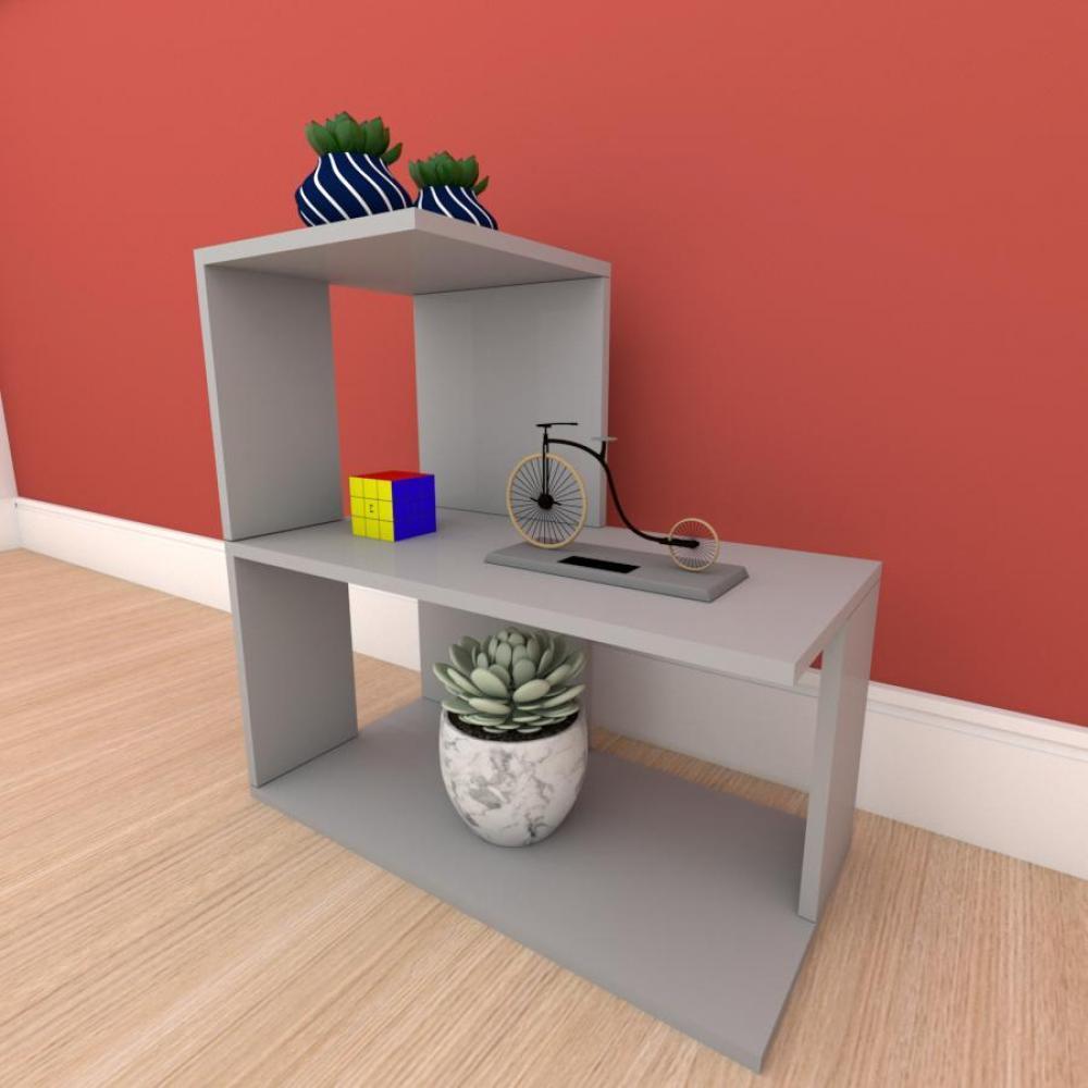 kit com 2 Mesa de cabeceira formato S simples em mdf Cinza
