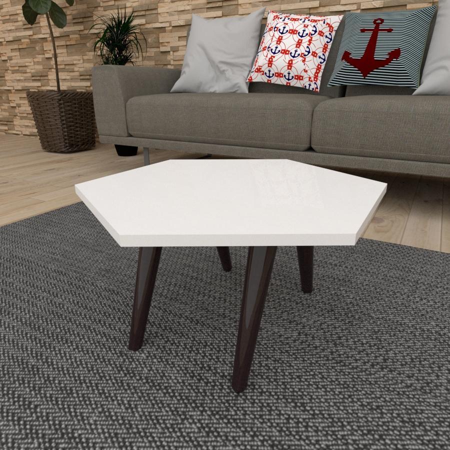 Mesa de Centro hexagonal em mdf branco com 4 pés inclinados em madeira maciça cor tabaco