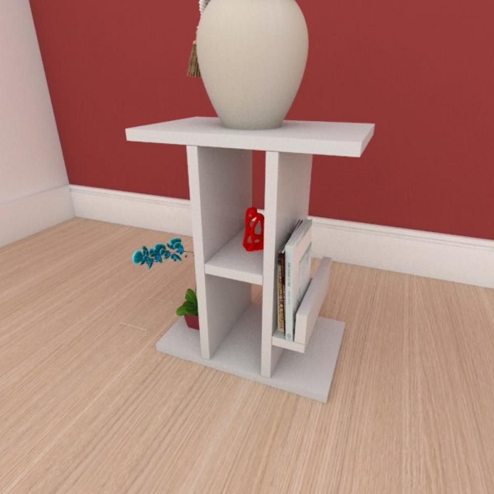 Mesa de cabeceira slim com prateleira em mdf cinza