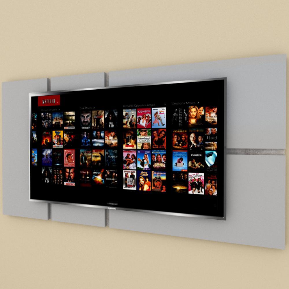 Painel Tv pequeno moderno cinza com rustico