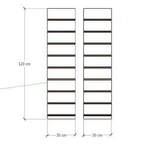 Kit 2 Painel canaletado para pilar amadeirado escuro 2 peças 30(L)x120(A)cm