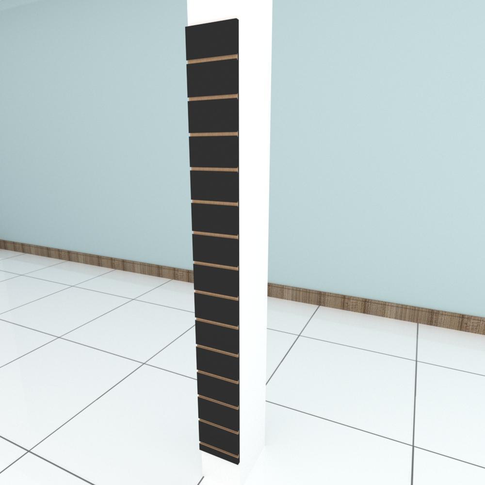 Painel canaletado para pilar preto 1 peça 20(L)x180(A) cm