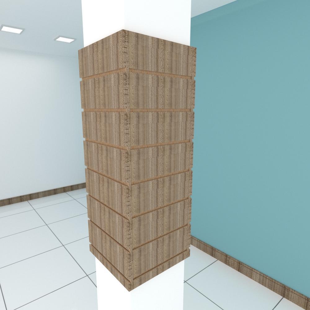 Kit 4 Painel canaletado para pilar amadeirado escuro 2 peças 34(L)x90(A)cm + 2 peças 30(L)x90(A)cm