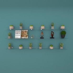 Kit com seis Prateleira para escritório 60 cm vidro temperado