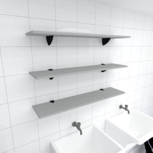 Kit 3 prateleiras para lavanderia em MDF suporte tucano cinza 90x20cm modelo pratlvc09