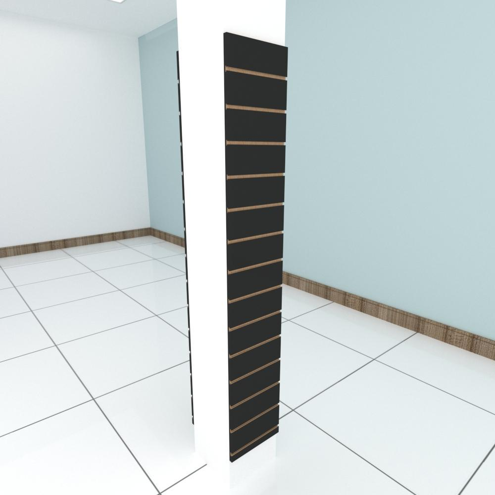 Kit 2 Painel canaletado para pilar preto 2 peças 30(L)x180(A)cm