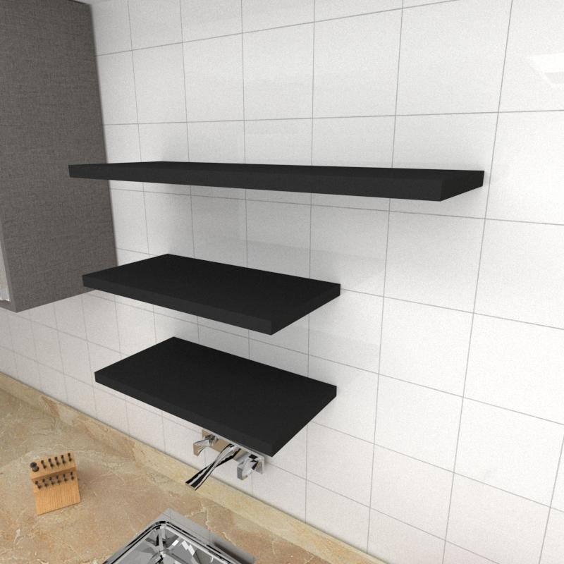 Kit 3 prateleiras cozinha em MDF sup. Inivisivel preto 2 60x30cm 1 90x30cm modelo pratcp33