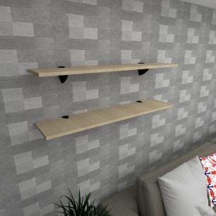 Kit 2 prateleiras para sala em MDF suporte tucano amadeirado claro 90x20cm modelo pratslamc08