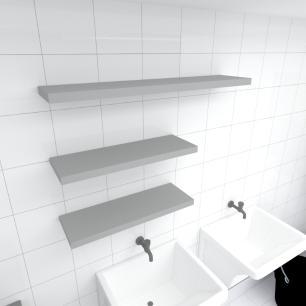 Kit 3 prateleiras lavanderia em MDF sup. Inivisivel cinza 2 60x20cm 1 90x20cm modelo pratlvc36
