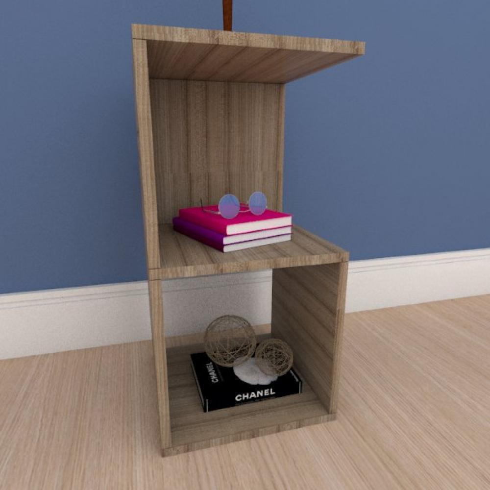 Mesa Lateral simples nicho em mdf amadeirado