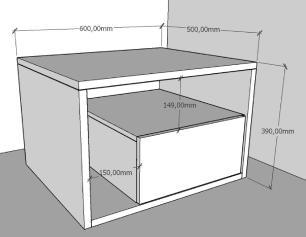 Mesa Lateral moderna amadeirado claro com preto