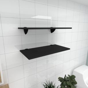 Kit 2 prateleiras para banheiro em MDF suporte tucano preto 60x30cm modelo pratbnp05