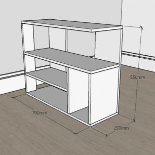 Estante escritório formato simples em mdf Cinza