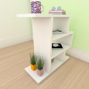 Mesa de cabeceira simples tripla em mdf branco