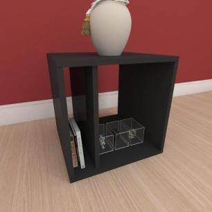 Kit com 2 Mesa de cabeceira moderna com prateleiras em mdf preto