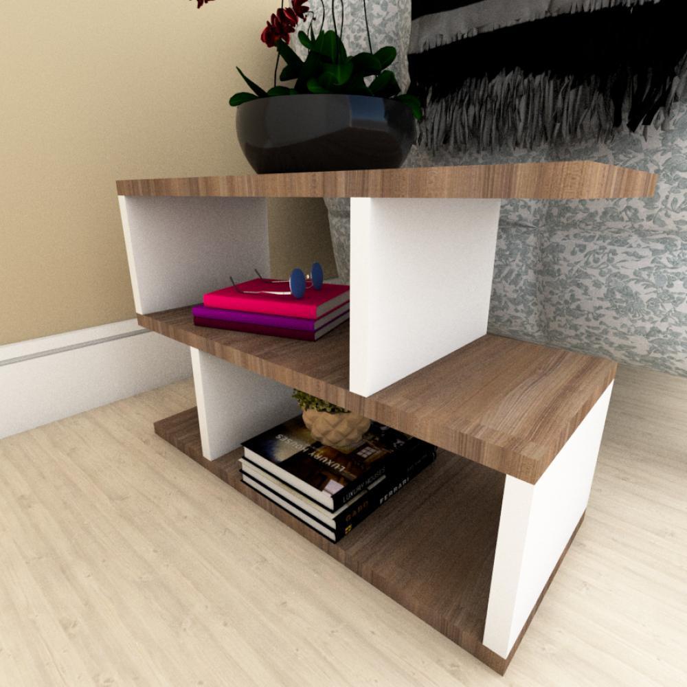 Mesa Lateral Sofá moderna amadeirado escuro com branco