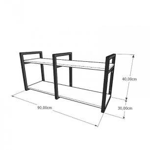 Prateleira industrial para escritório aço cor preto prateleiras 30cm cor cinza modelo ind22ces