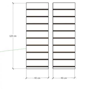 Kit 2 Painel canaletado para pilar cinza cristal 2 peças 40(L)x120(A)cm