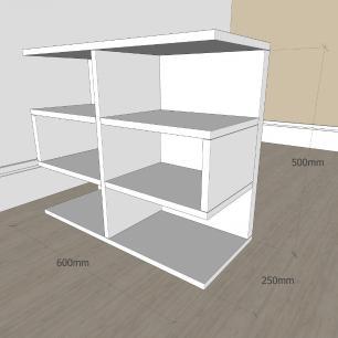 Estante escritório minimalista com nicho em mdf Preto