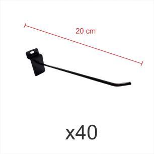 kit para expositor com 40 ganchos 4mm preto de 20 cm para painel canaletado