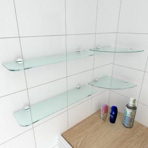 kit com 4 Prateleira de vidro temperado para banheiro 2 de 20 cm para canto e 2 de 40 cm reta