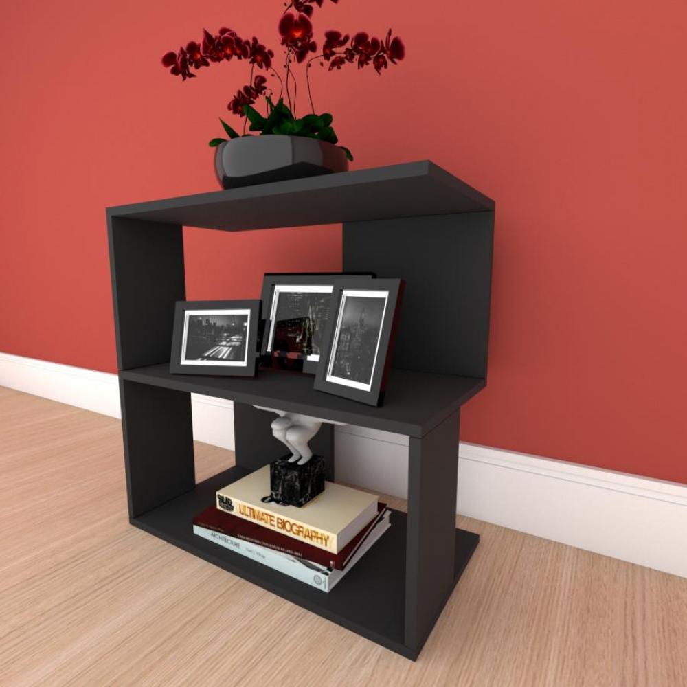 Mesa lateral para sofá formato S slim em mdf Preto