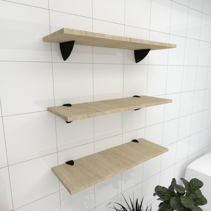 Kit 3 prateleiras para banheiro em MDF suporte tucano amadeirado claro 60x20cm modelo pratbnamc12