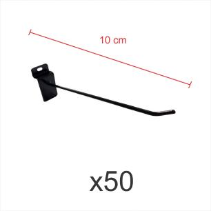 kit para expositor com 50 ganchos 4mm preto de 10 cm para painel canaletado
