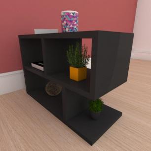 Kit com 2 Mesa de cabeceira minimalista em mdf preto