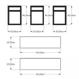 Mini estante industrial para escritório aço cor preto prateleiras 30 cm cor preto modelo ind19pep