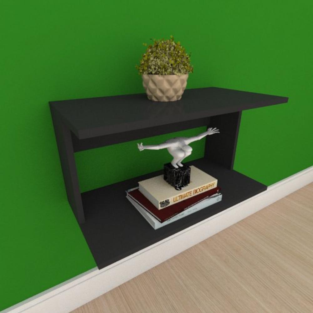 Mesa de cabeceira suspensa simples em mdf preto