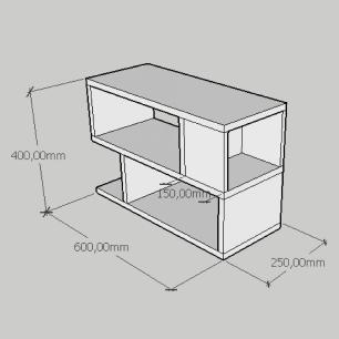 Mesa Lateral minimalista com nicho em mdf amadeirado