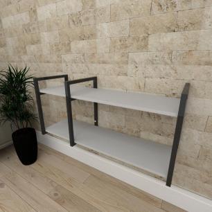 Mini estante industrial para sala aço cor preto prateleiras 30cm cor cinza modelo ind19ceps