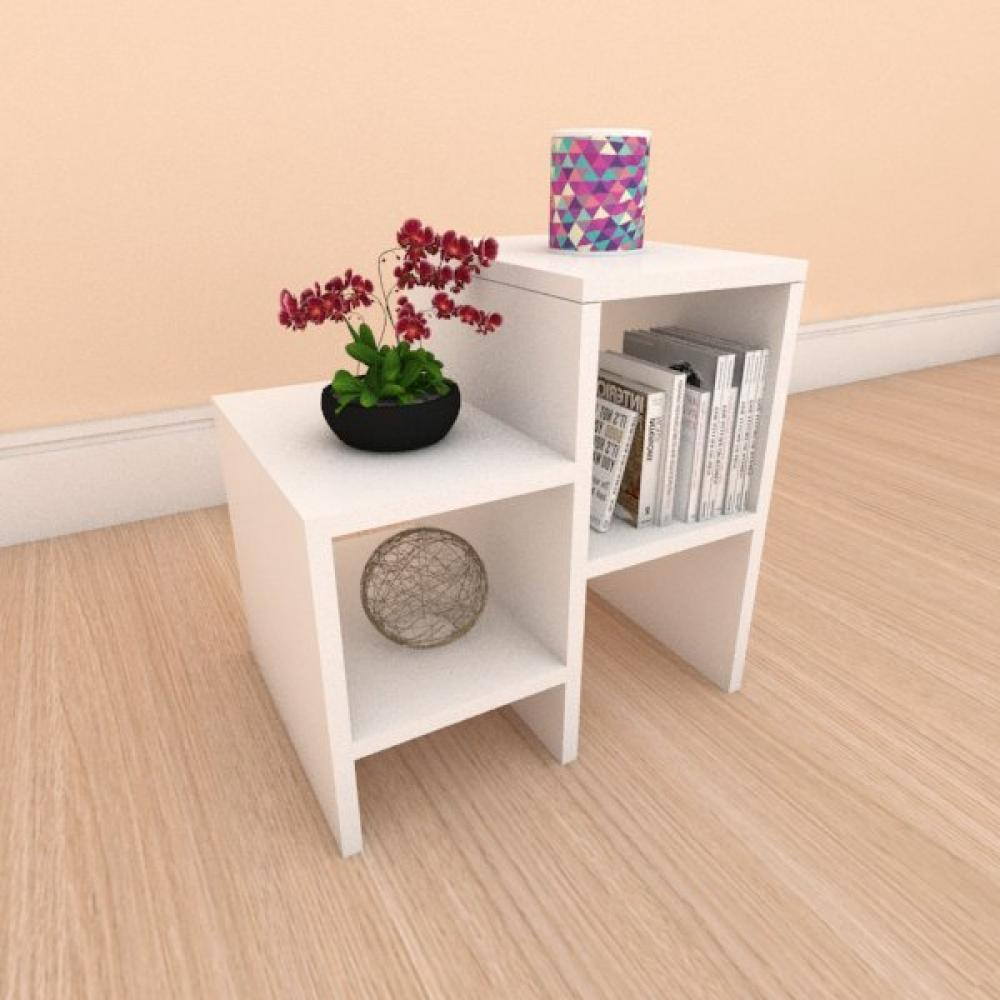 Kit com 2 Mesa de cabeceira slim moderna em mdf branco