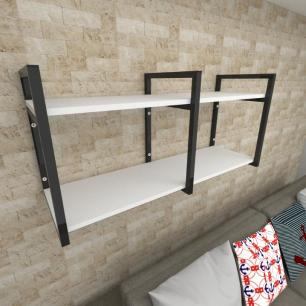 Prateleira industrial para Sala aço cor preto prateleiras 30 cm cor branca modelo ind22bsl
