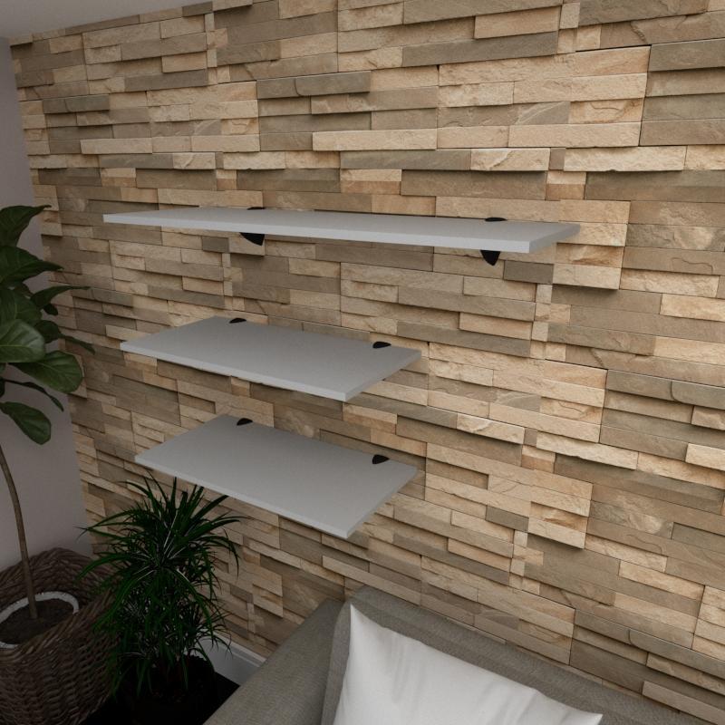 Kit 3 prateleiras sala em MDF suporte tucano cinza 2 60x30cm 1 90x30cm modelo pratslc15