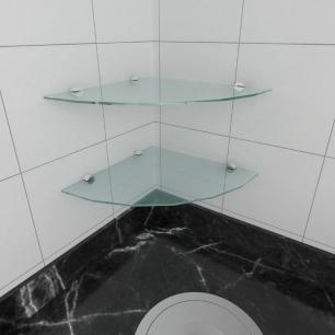 kit com 2 Prateleira para canto de vidro temperado para cozinha profundidade 30 cm