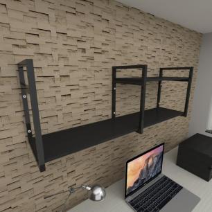 Prateleira industrial para escritório aço cor preto prateleiras 30cm cor preto modelo ind07pes