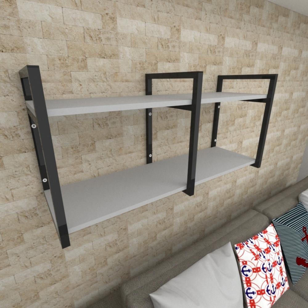 Prateleira industrial para Sala aço cor preto prateleiras 30 cm cor cinza modelo ind22csl