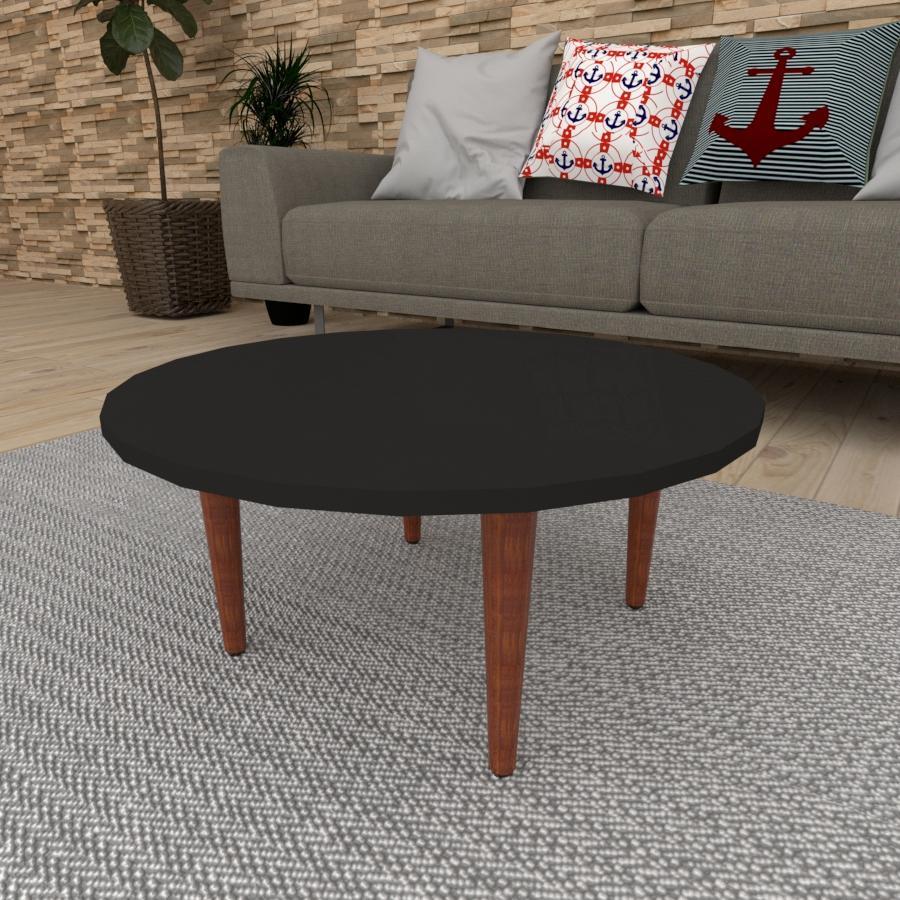 Mesa de Centro redonda em mdf preto com 4 pés retos em madeira maciça cor mogno