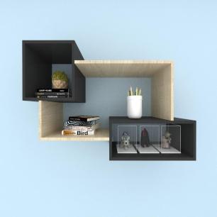 Kit de Nichos multi uso mdf Amadeirado claro com preto
