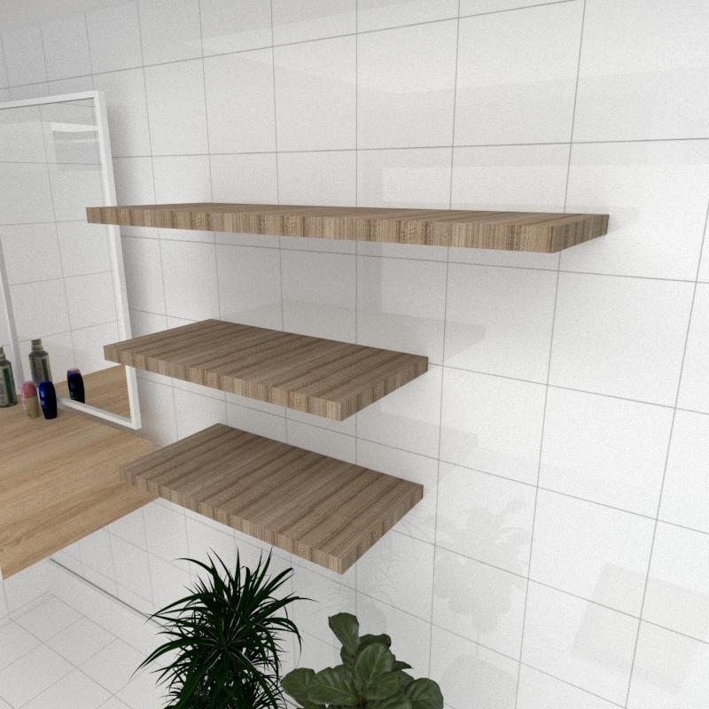 Kit 3 prateleiras banheiro MDF sup Inivisivel amadeirado escuro 2 60x30cm 1 90x30cm mod pratbname33