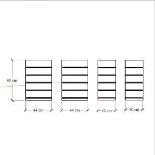 Kit 4 Painel canaletado para pilar cinza cristal 2 peças 44(L)x60(A)cm + 2 peças 30(L)x60(A)cm
