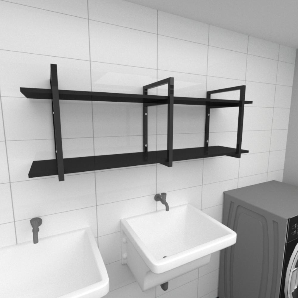 Prateleira industrial para lavanderia aço cor preto prateleiras 30 cm cor preto modelo ind05plav