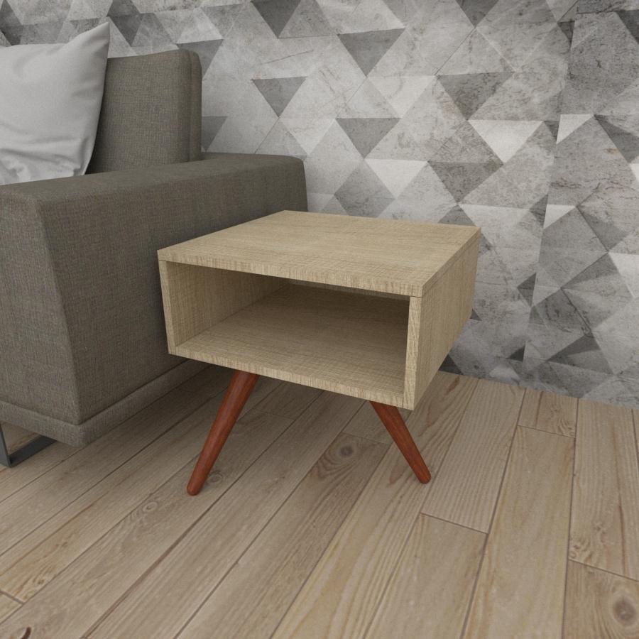 Mesa lateral em mdf amadeirado claro com 3 pés inclinados em madeira maciça cor mogno