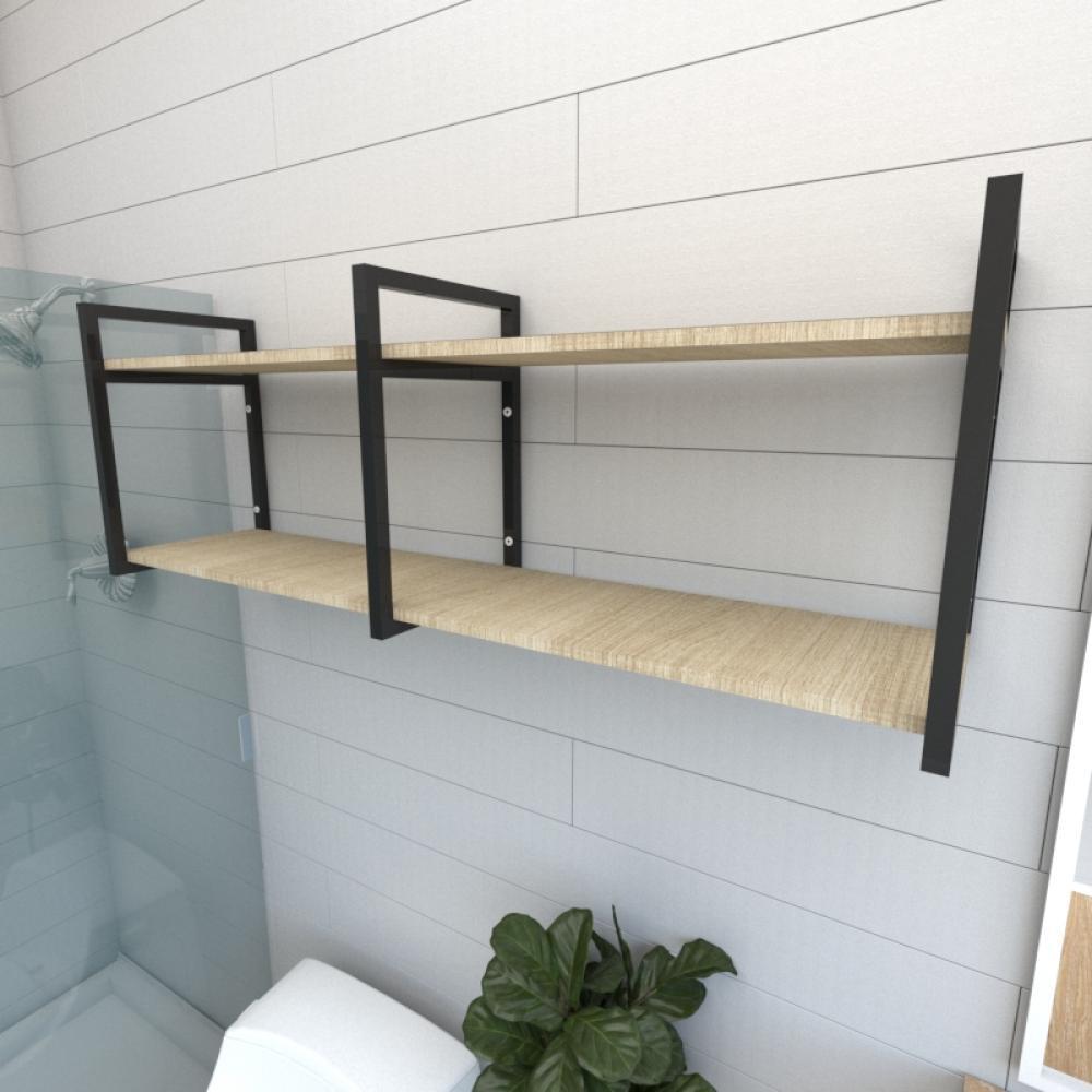 Prateleira industrial banheiro aço cor preto prateleiras 30cm cor amadeirado claro mod ind04acb
