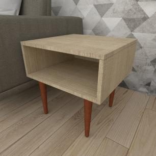Mesa lateral em mdf amadeirado claro com 4 pés retos em madeira maciça cor mogno