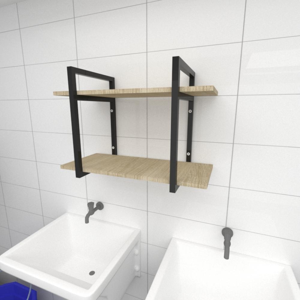 Prateleira industrial para lavanderia aço cor preto mdf 30 cm cor amadeirado claro modelo ind02aclav