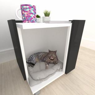 Casinha caminha criado mudo gato mdf branco com preto